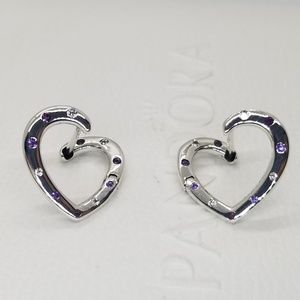 Authentic Pandora Bright Heart Hoops Earrings new